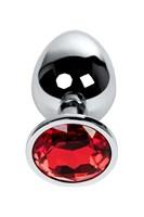 Серебристая анальная втулка Metal с рубиновым кристаллом - 9,5 см. - фото 1179647