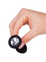 Чёрная анальная втулка с прозрачным кристаллом - 7,3 см.  - фото 323270