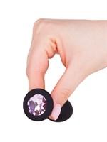 Чёрная анальная втулка с розовым кристаллом - 7,3 см. - фото 1327801