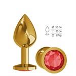 Золотистая средняя пробка с красным кристаллом - 8,5 см. - фото 335477