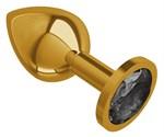 Золотистая средняя пробка с чёрным кристаллом - 8,5 см. - фото 1180628
