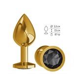 Золотистая средняя пробка с чёрным кристаллом - 8,5 см. - фото 1180627