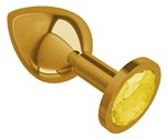 Золотистая средняя пробка с желтым кристаллом - 8,5 см. - фото 214812