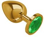 Золотистая большая анальная пробка с зеленым кристаллом - 9,5 см. - фото 1180710