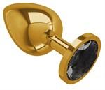 Золотистая большая анальная пробка с чёрным кристаллом - 9,5 см. - фото 214934