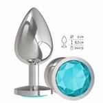 Серебристая большая анальная пробка с голубым кристаллом - 9,5 см. - фото 214949