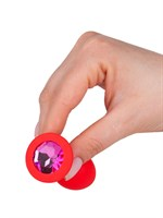 Красная анальная втулка с малиновым кристаллом - 7,3 см. - фото 103190