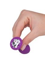 Фиолетовая силиконовая пробка с прозрачным кристаллом - 7,3 см. - фото 1325416