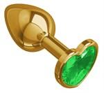 Золотистая анальная втулка с зеленым кристаллом-сердцем - 7 см. - фото 1212868