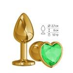 Золотистая анальная втулка с зеленым кристаллом-сердцем - 7 см. - фото 1212867