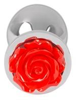 Серебристая втулка с красной розочкой в основании - 9 см. - фото 216101