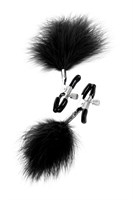 Зажимы для сосков TOYFA Theatre с черным пухом - фото 217428
