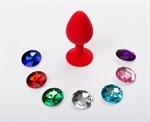 Красная малая силиконовая пробка с 7 сменными кристаллами - 7,1 см. - фото 240973