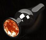 Графитовая удлиненная анальная пробка с оранжевым кристаллом - 12 см. - фото 1685497